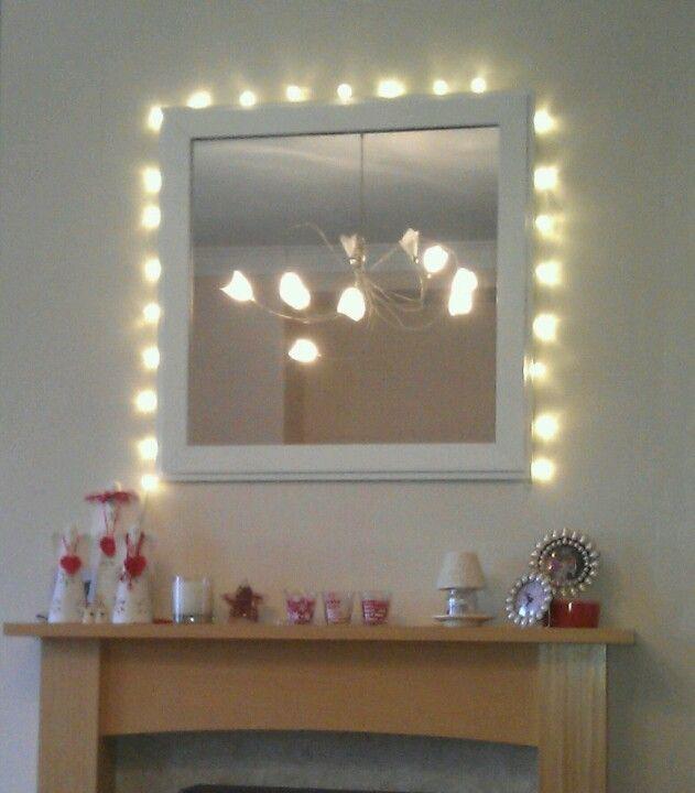 Fairy Lights Around Mirror Over Fireplace Lights Around Mirror