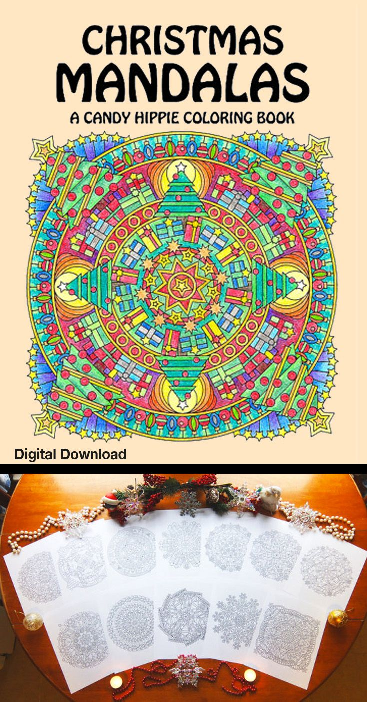 Christmas Mandalas Coloring Book Instant Digital Download 12 Pages