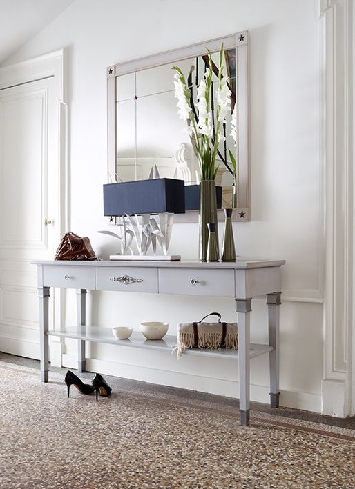 Witte Grote Sidetable.Hausmann Home Hal Franse Meubelen Witte Spiegel