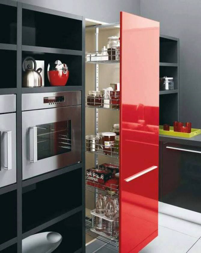Black And White Cabinets, Red Island Kitchen Design. Red, White And Black  Kitchen Cabinets Color Scheme. If You Are Looking For Some Sample Kitchen  Cabinet