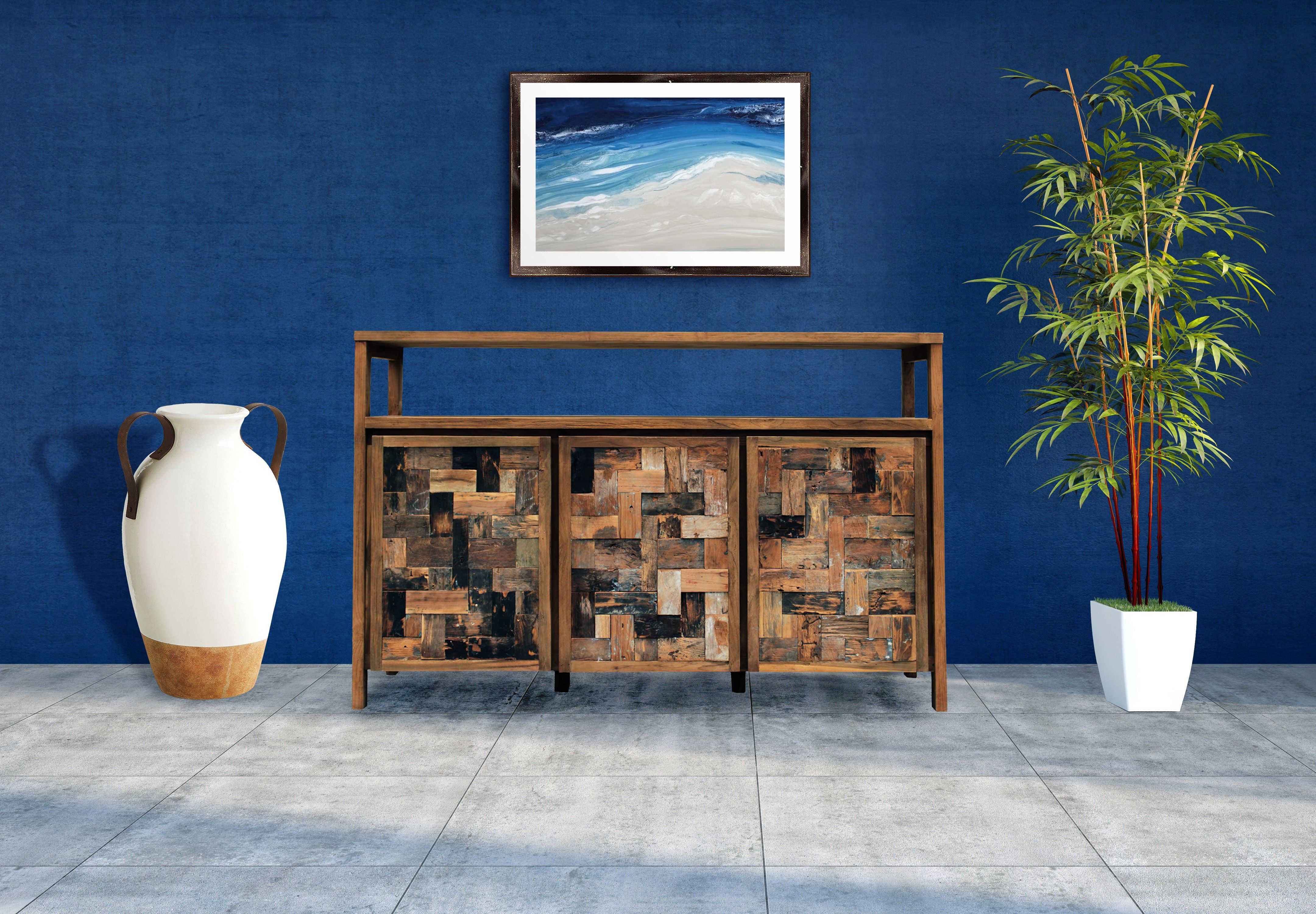 Photo of Recycled Teak Wood Mozaik Media Center / Buffet with 3 Wooden Doors