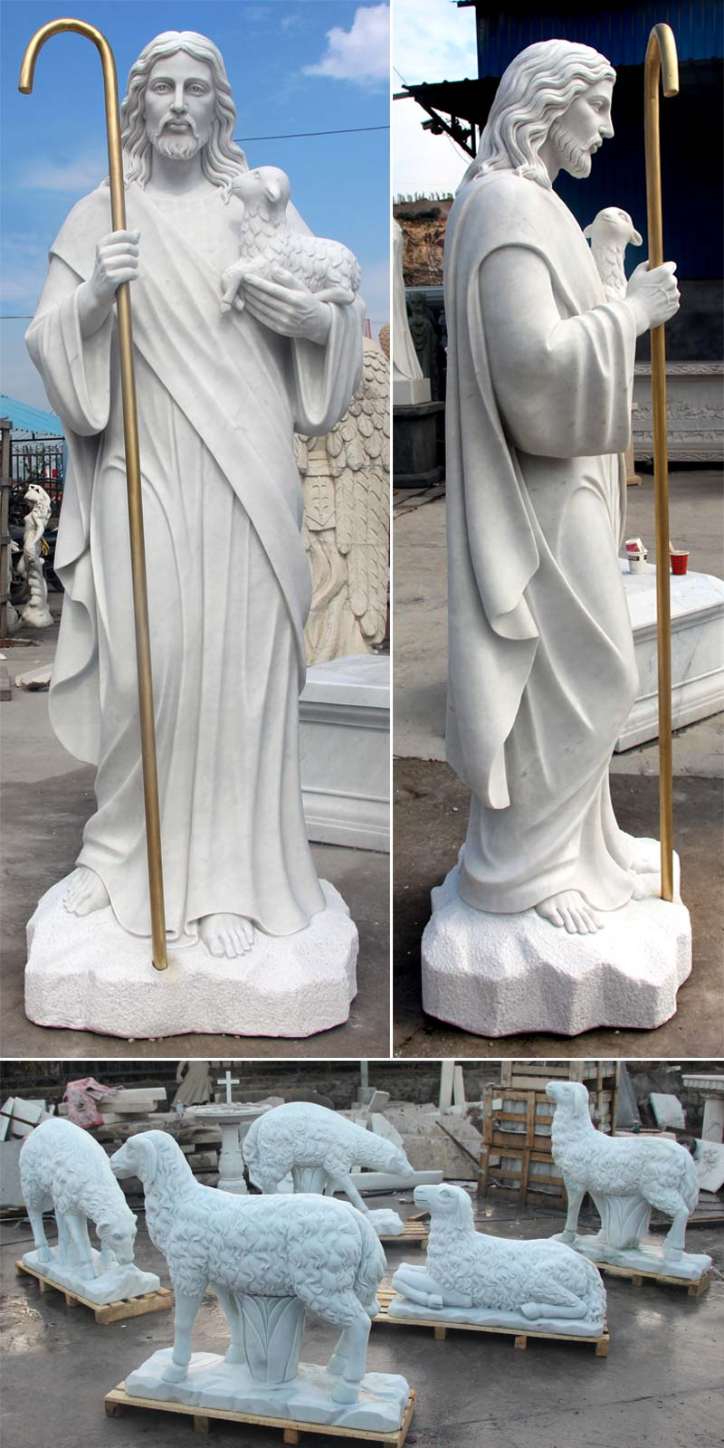 Marble Sculpture Of St Jesus And Lamb Jesus Statue Jesus Statue Sculpture Jesus Christ Statue