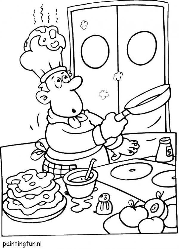 Kleurplaten Koken En Eten.Thema Eten En Drinken Kleurplaat Google Zoeken Professions Bw