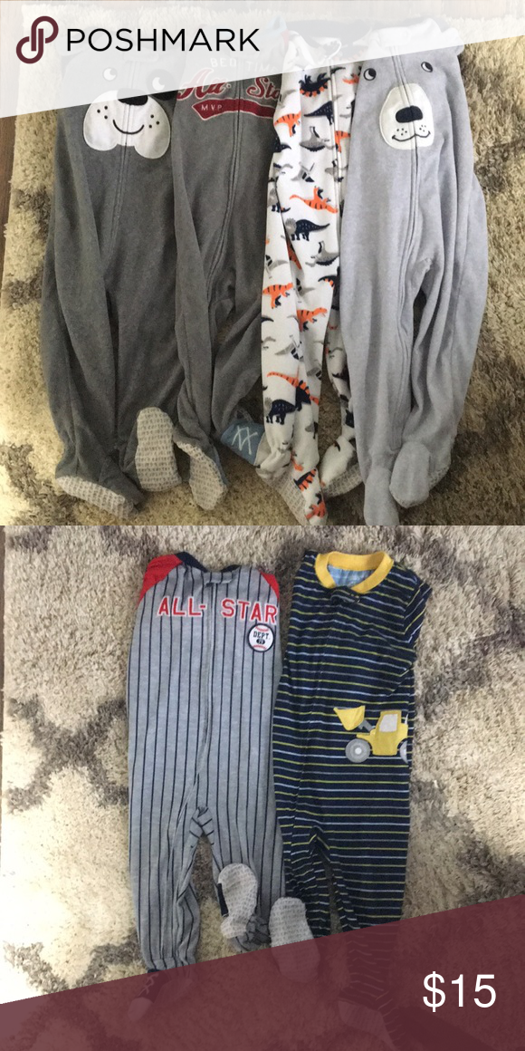 9b60068a9 Lot of 6 pair 18 month boys footed pajamas