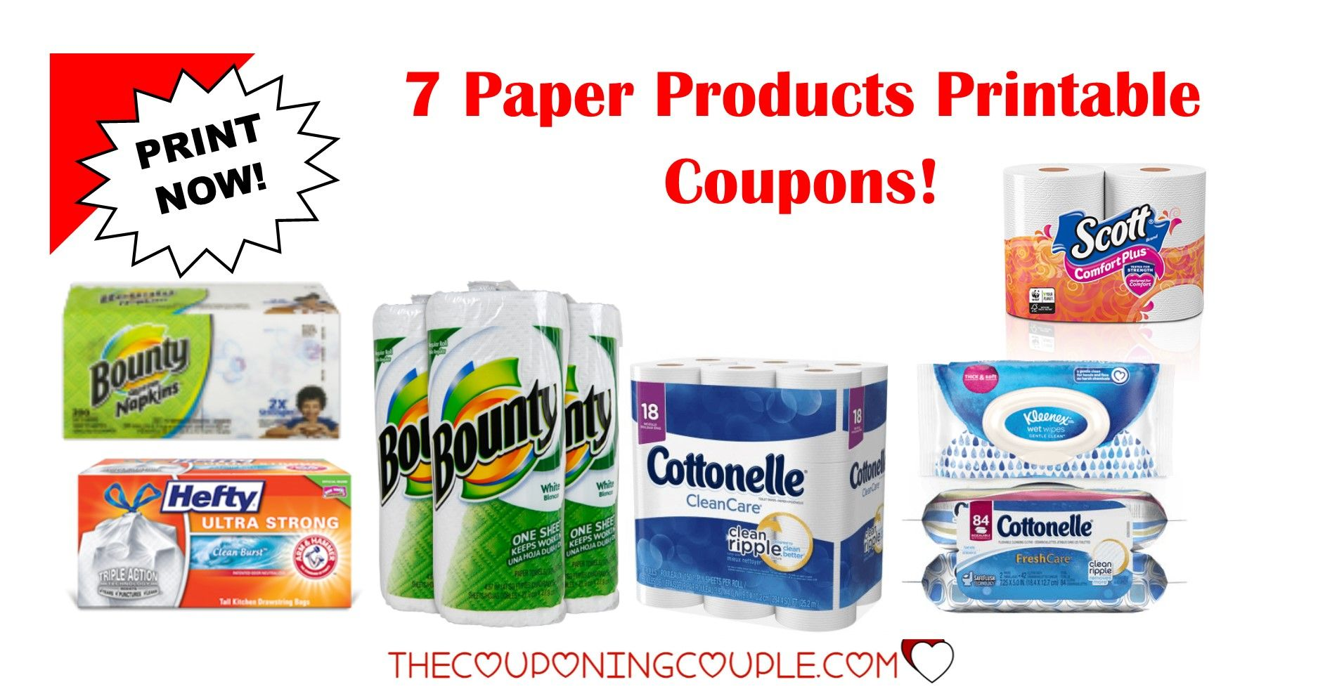 7 paper product printable coupons ~ bounty, cottonelle & more