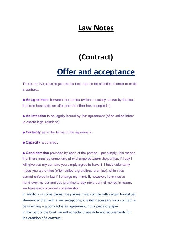 Law Notes (Contract) Offer And Acceptance There Are Five Basic