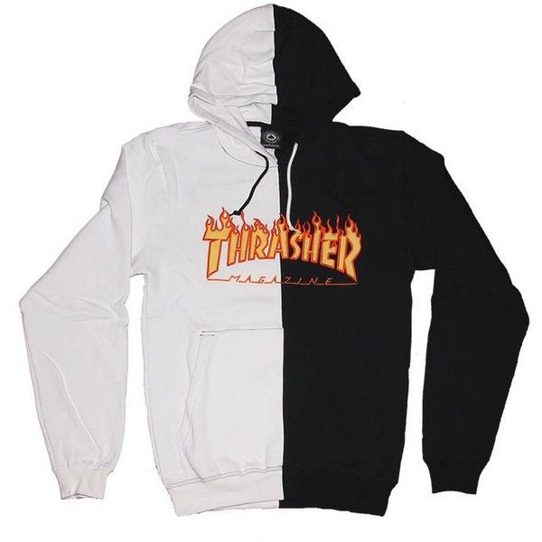 94f9a04bc544 Thrasher Flame Logo Split Hoodie Now Available PURE Board Shop ❤ liked on  Polyvore featuring tops