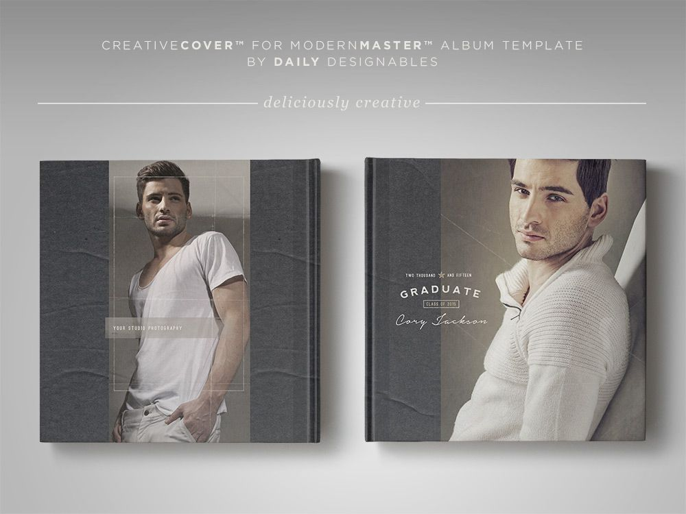7 MINIMAL \ MASCULINE SENIOR PHOTOGRAPHY TEMPLATES + SENIOR GUY - free album templates