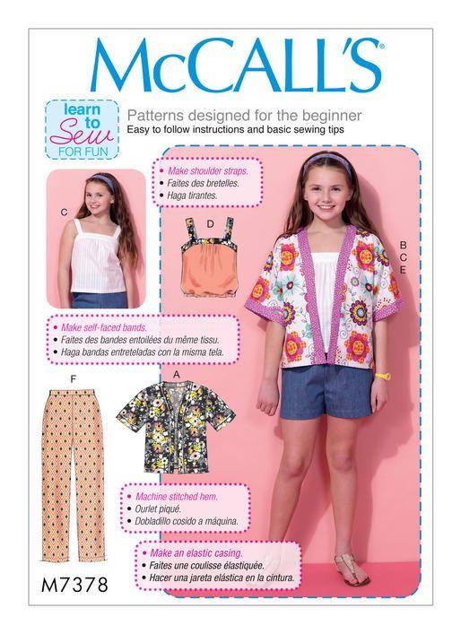 McCall\'s M7378 Girls\'/Girls\' Plus Kimono-Style Jackets, Tops, Shorts ...