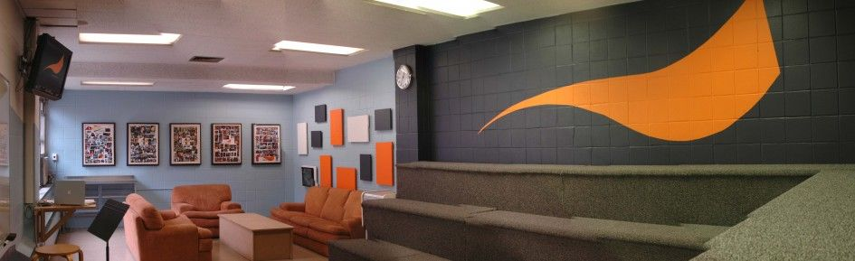 Interior Popular Church Youth Room Design Ideas With Charming Orange Crafts Also Sofa And Grey
