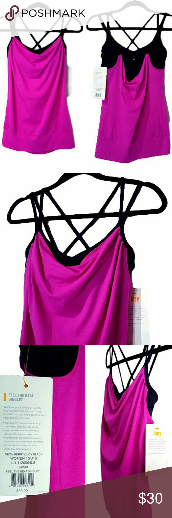 Lucy Athletic Top Athletic top by Lucy in Neon Berry/Lucy Black. Vibrant fuscia top with black straps and black built in shelf bra. Scoop neckline. Black criss cross straps and fuchsia draped back. Stays fitted on your body for your workout or practice at the studio. Moisture wicking, breathable, four-way stretch. Brand new with tags. Never worn. NWT  Ask any questions! Lucy Tops
