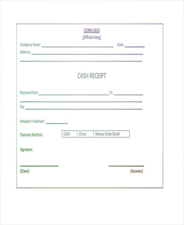 Cheque Receipt Template New Cash Receipt Template  Pdf Form To Download And Fill Out  Online .