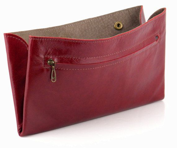 Burgundy Leather Wallet / Zipper Wallet / Women Red Purse / Unisex Wallet / Card Slot Wallet / Coins Wallet / Compartments Wallet - Efika