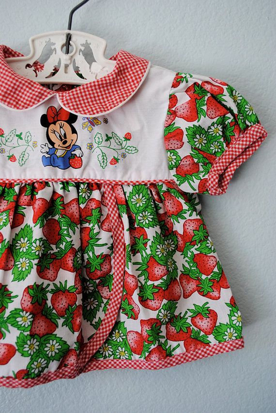 1a6ba563a Vintage baby girl minnie mouse strawberry dress