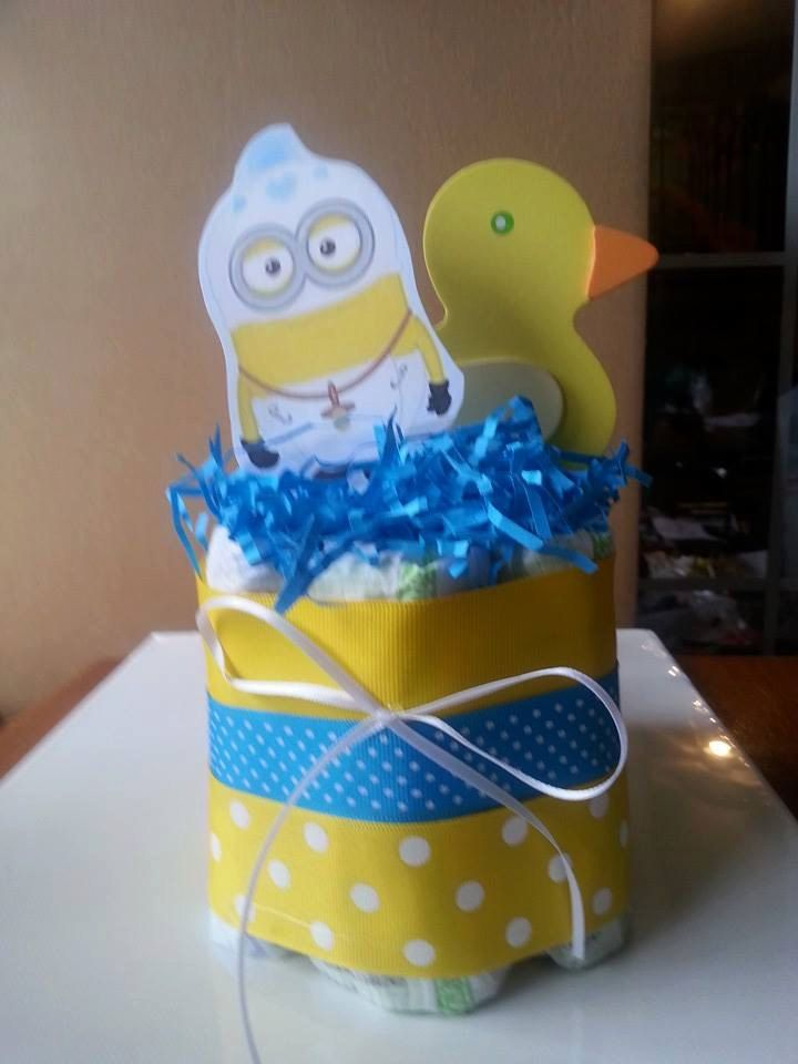 Small One Layer Yellow Duck And Baby Boy Minion Diaper Cake Baby