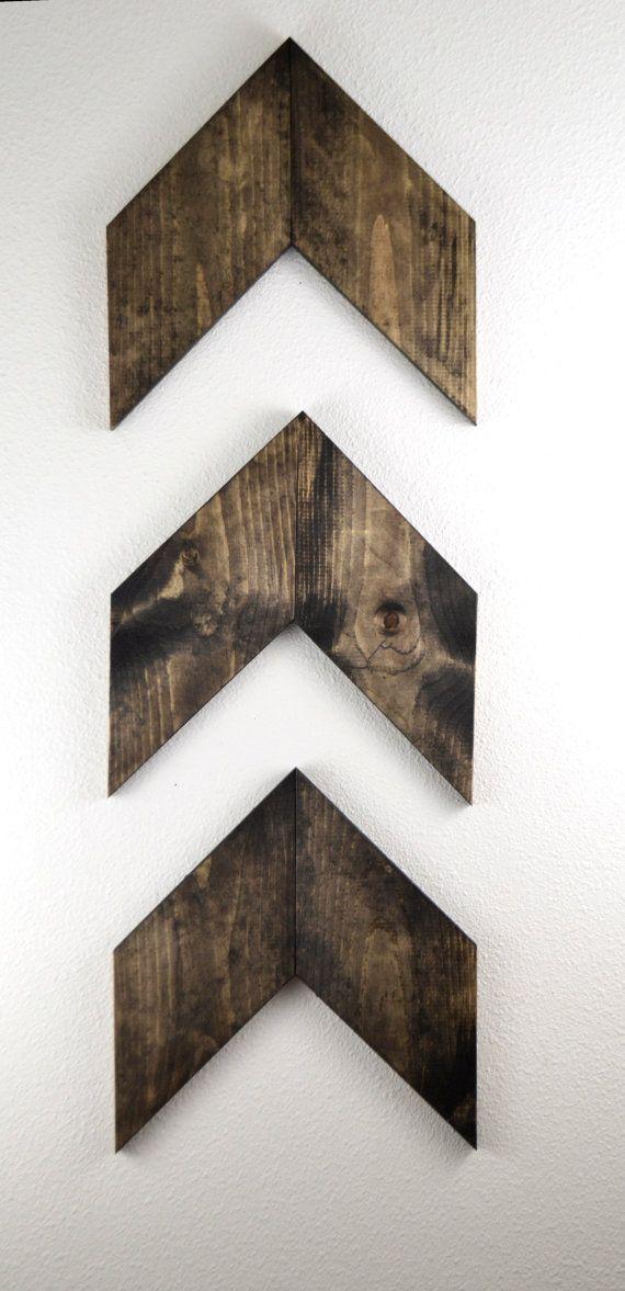 medium rustic wood arrows set of 3 wall arrows gallery wall gift for - Medium Wood Living Room Decor