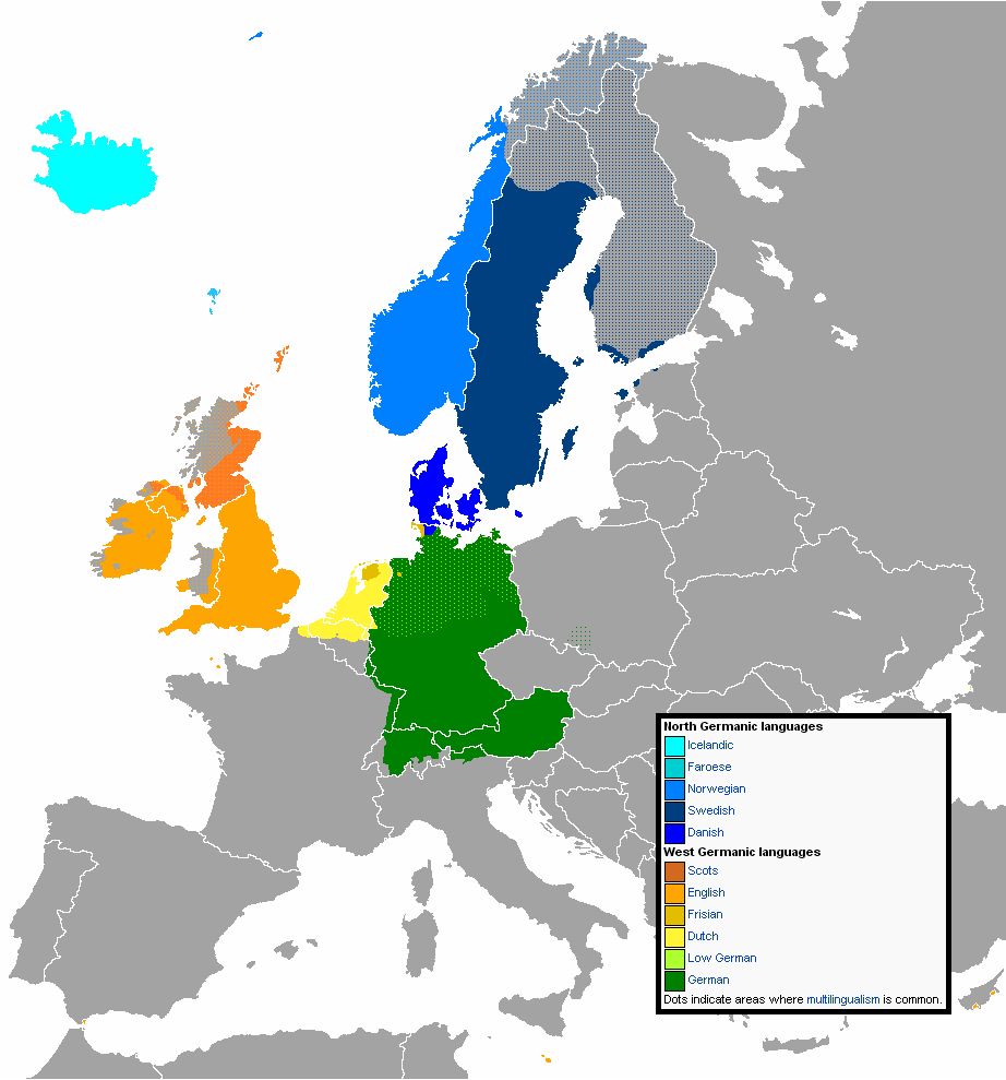 distribution of germanic languages in europe