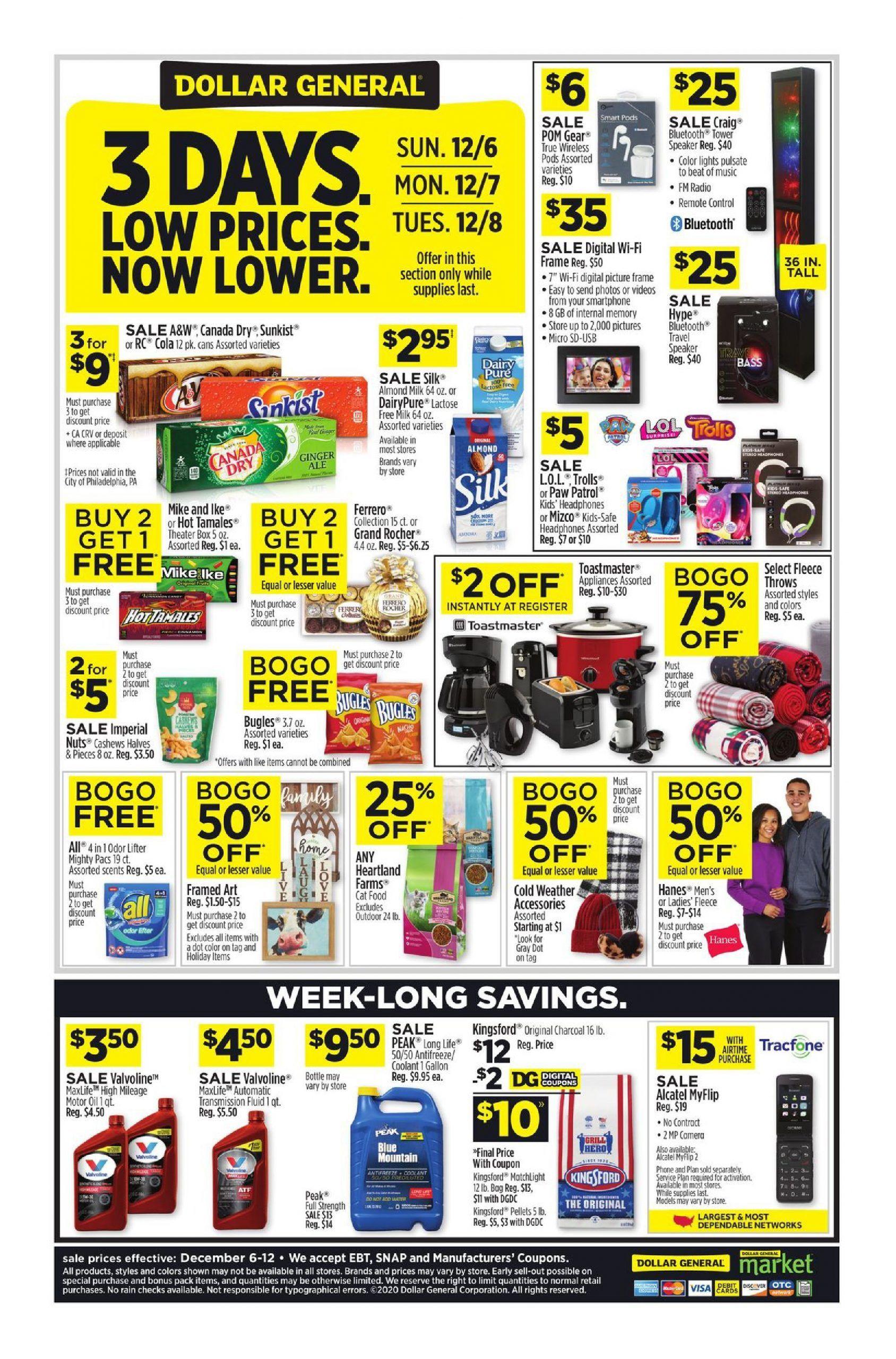 Dollar General 3 Days Deal Dec 6 Dec 8 2020 Dollar General Weekly Ads Weekly Circulars