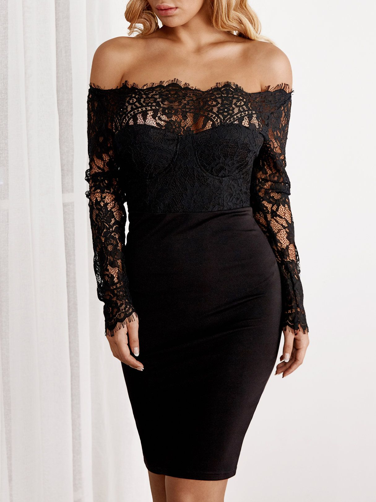 aae24e5a54 Pay attention to this sexy dress. It is adorned with see through lace  details