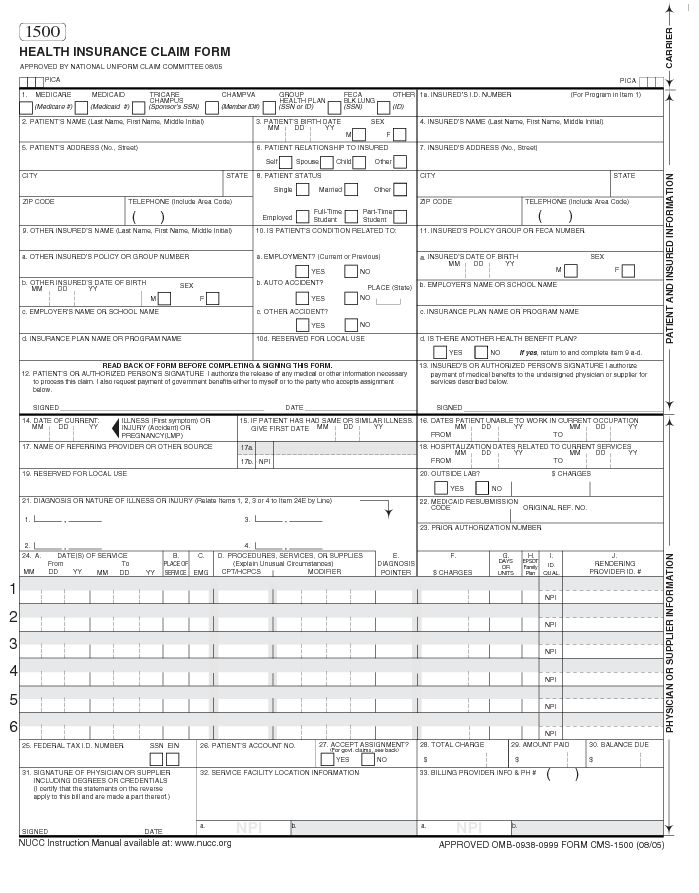Cms 1500 Blank Paper Claim Form With Images Templates Student