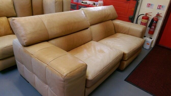This Is A Leather Sofa Made Natuzzi This Aniline Leather Had Faded So Badly D Leather Furniture Repair Restorations Leather Furniture Repair Leather Furniture