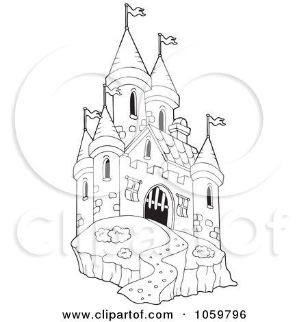 castle outline coloring pages - photo#25