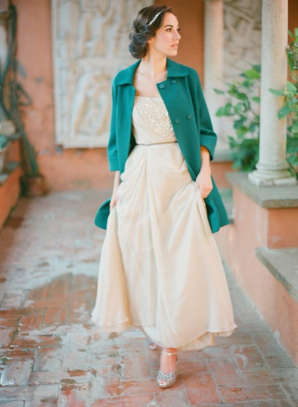Bride in Teal Coat | photography by http://buffydekmarblog.com