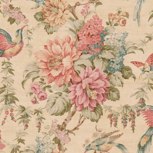 Wallpaper Pink Coral Green Brown Teal Tan Blue Floral Vine