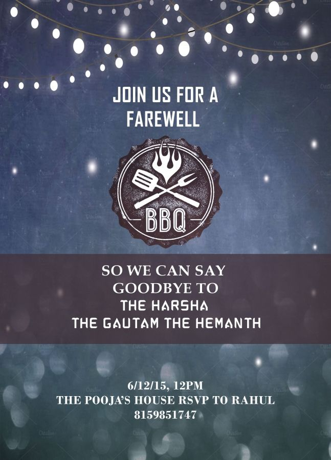 Barbeque Themed Farewell Party Invitation With Wordings  Places