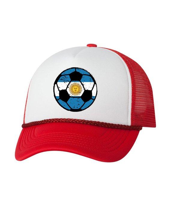 Argentina Soccer Ball Trucker Hat Argentinian Hats Argentina Soccer  Snapback Hat Argentina 2018 Base 4c237dd926f