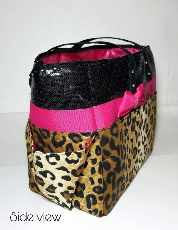 Cheetah Leopard diaper bag. Matching wipe case. Bow. Hot pink. Black sequin.  Tote bag purse. Persona 8ef49a3000d17