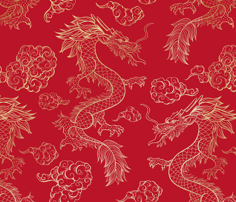 Colorful fabrics digitally printed by Spoonflower - Chinese Dragon and Clouds Red -   - #arrowtattoo #Chinese #chinesedragontattoo #clouds #Colorful #digitally #Dragon #fabrics #printed #Red #Spoonflower #targaryentattoo
