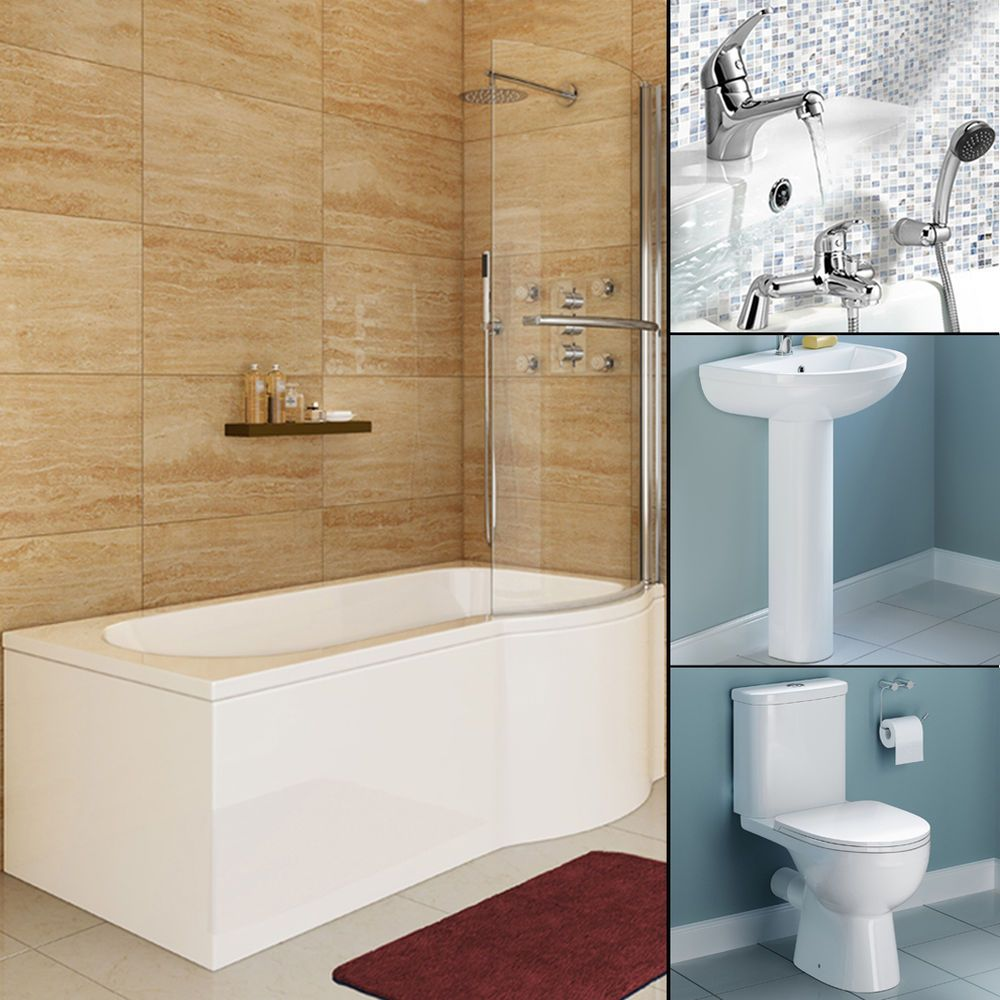 1675mm Right P Shaped Shower Bath Toilet Basin Complete Bathroom ...