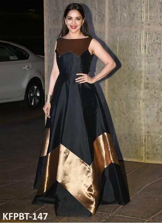 474feccc11f Madhuri Dixit Taffeta Silk Black   Gold Simple Gown