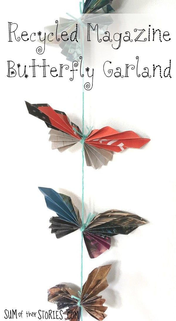 Recycled Magazine Butterfly Garland #recycledcrafts