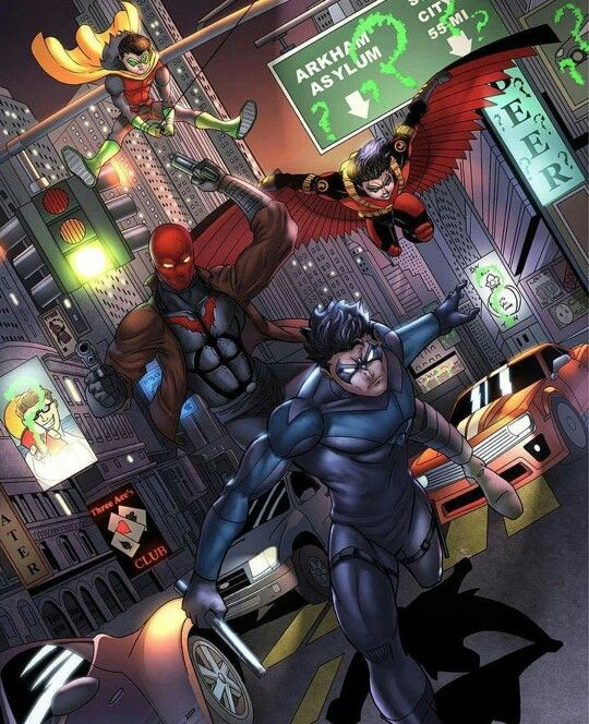 The Robins. Nightwing, Red Robin, Red Hood & Robin ... Nightwing And Red Robin