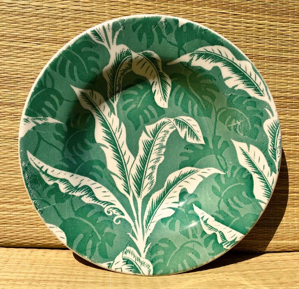Wallace China Green Shadowleaf Flat Soup Bowl Vintage