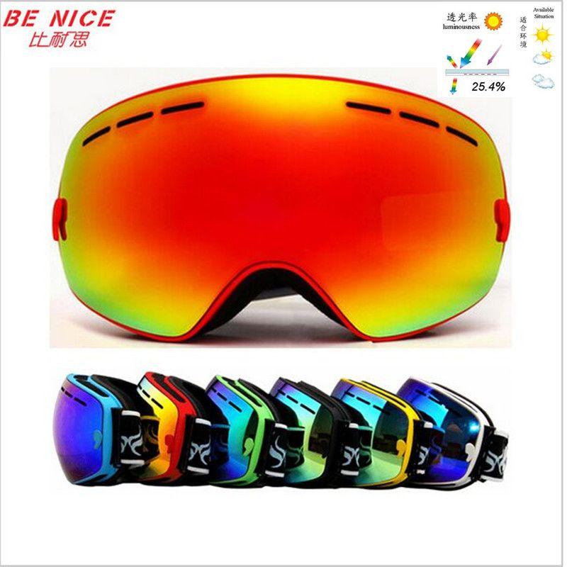 e2609476b67e Outdoor brand snowboard goggles professional double lens anti fog big spherical  ski glasses winter snow Sport