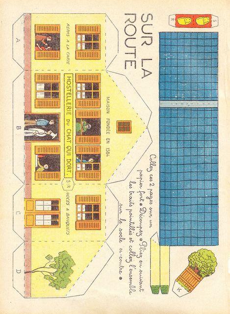Dec sur la route 1 enfantina d coupages papier maquette papier et jouets en papier - Gabarit maison en carton ...