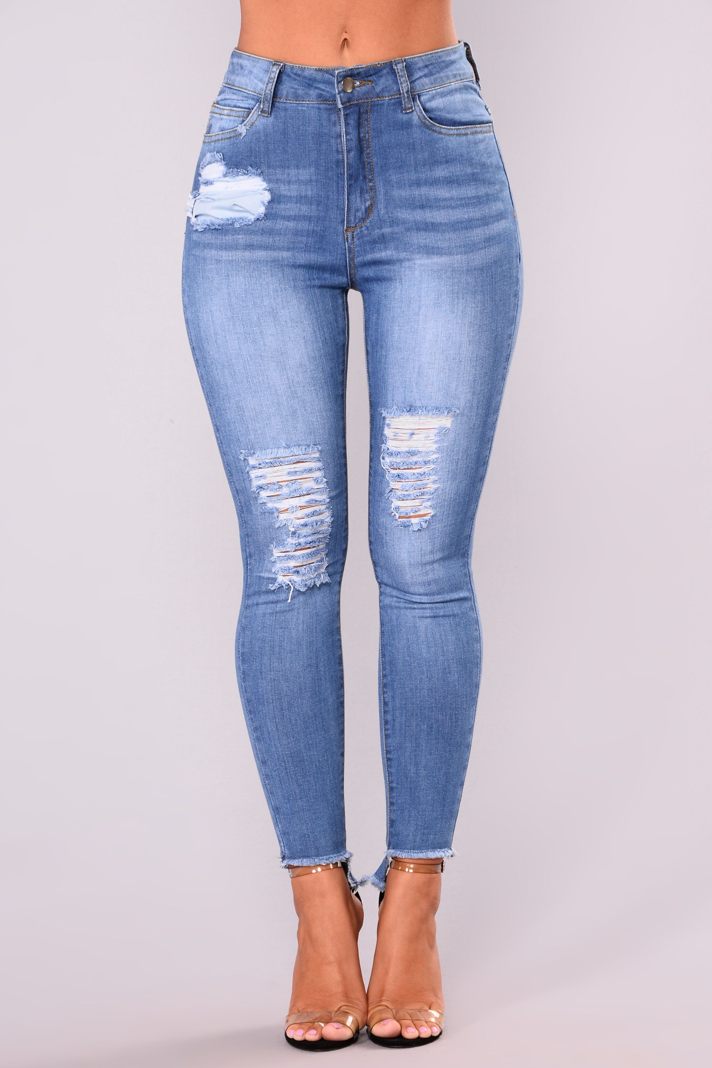 fca5ec76755 Carli Distress Jeans - Medium Blue | Clothes! | Jeans, High waisted ...