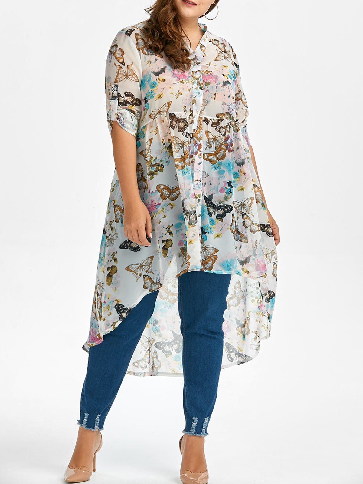 03d59c84da7 Wholesale Butterfly Print High Low Plus Size Top Xl White Online. Cheap  Butterfly Wing Scarf And Plus Size Skirt on Rosewholesale.com
