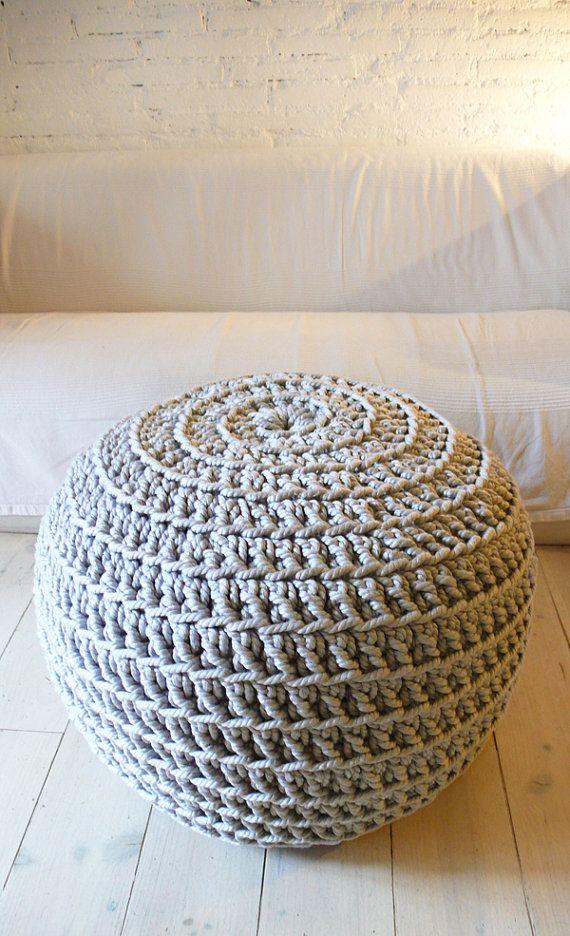 Puf súper gigante Crochet - algodón grueso - gris