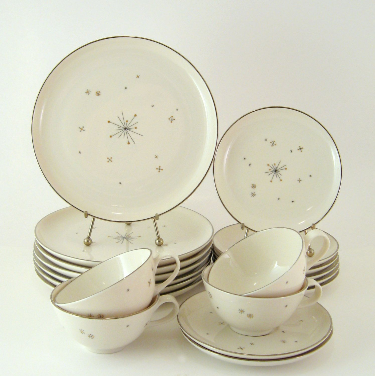 Vintage Dinnerware Set Syracuse China Evening Star Mid-Century Modern Atomic Dishes & Vintage Dinnerware Set Syracuse China Evening Star Mid-Century ...