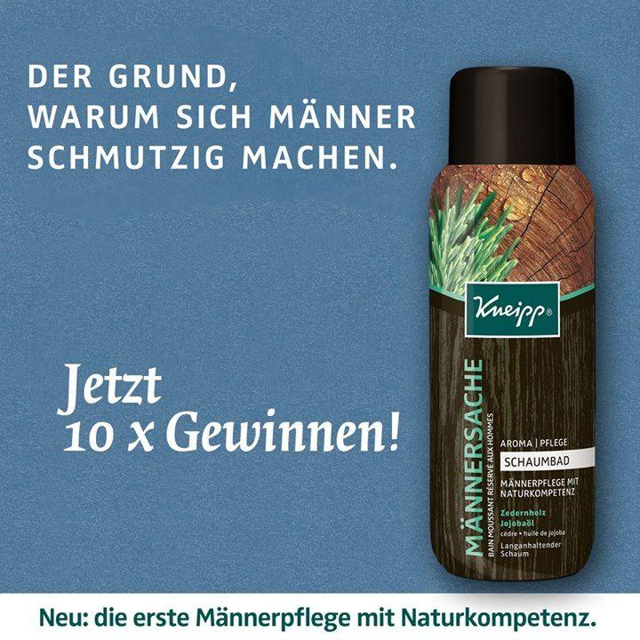 """Gewinnt zehn Mal das Schaumbad """"Männersache"""" von Kneipp! Auf der facebook-Seite von Kneipp Deutschland könnt ihr noch bis 13. August 2014 zehn Mal das Schaumbad..."""
