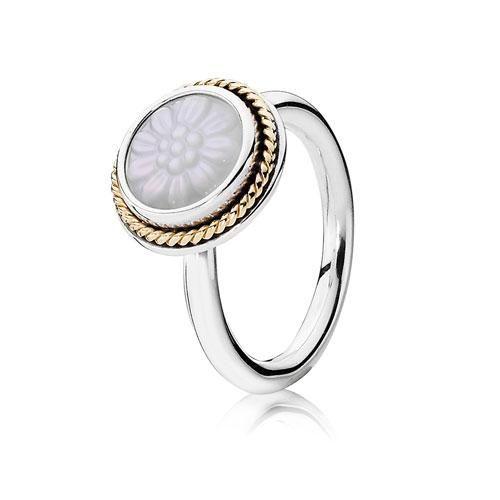 b5d3142c1 ... norway pandora silver 14ct gold pearl flower ring 135 b70ba dec4f ...