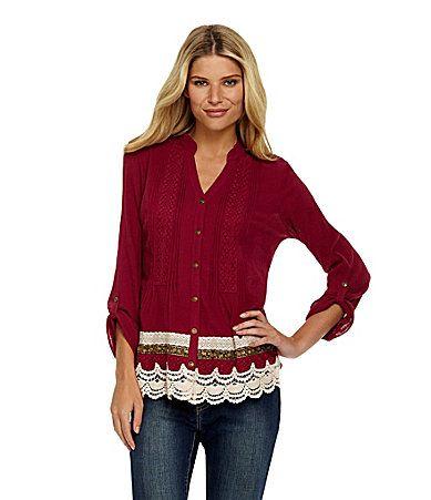 Nurture Pintuck Crochet Blouse #Dillards