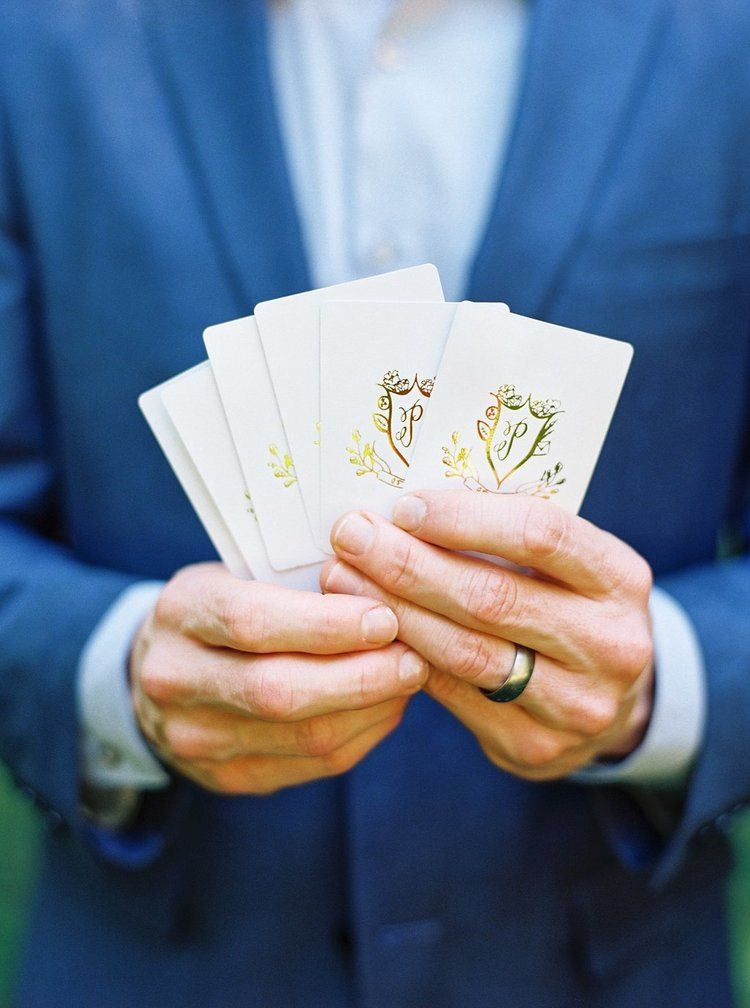 Custom Gold Foil Wedding Crest Playing Cards | Blush and Navy Wedding with Fuchsia, French Blue and Gold Accents | Simply Jessica Marie's Southern Wedding at Gettysvue Golf Course and Country Club in Knoxville Tennessee | Photo by Perry Vaile Photography