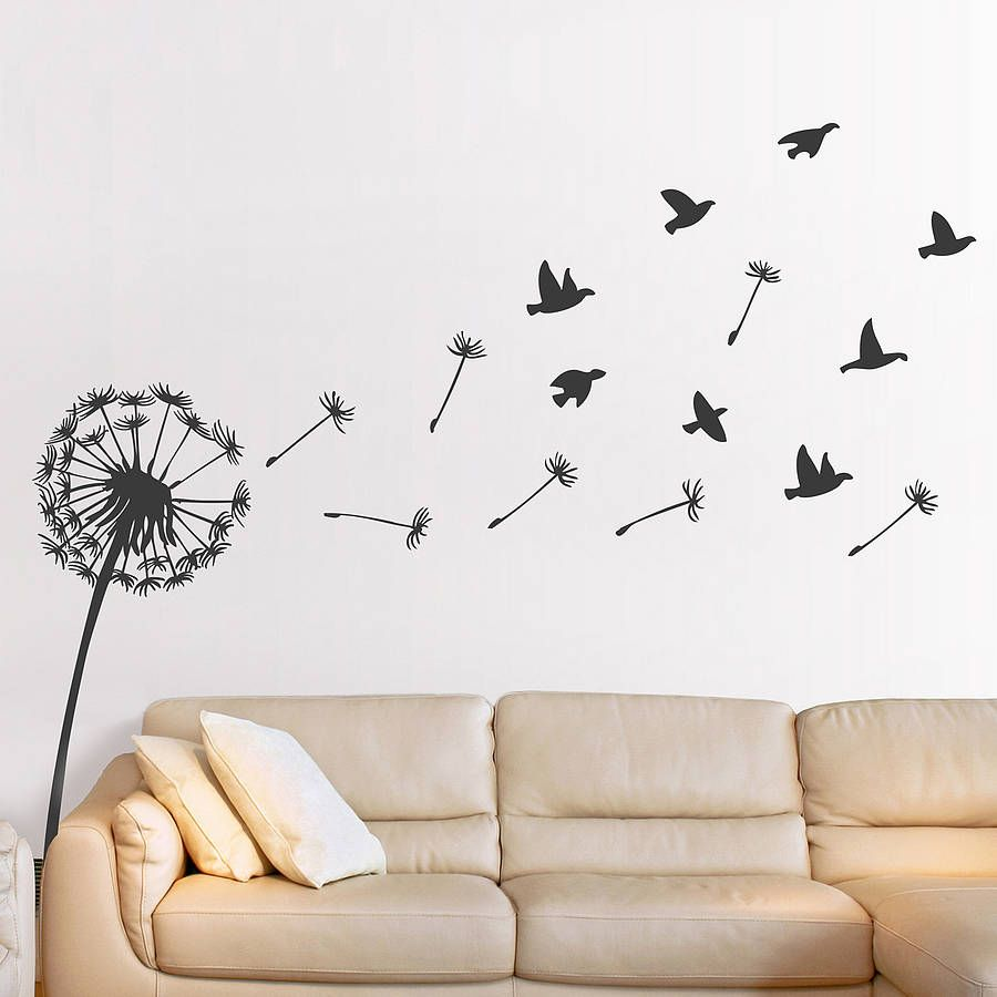 Dandelion wall sticker dandelions for Bird wall art