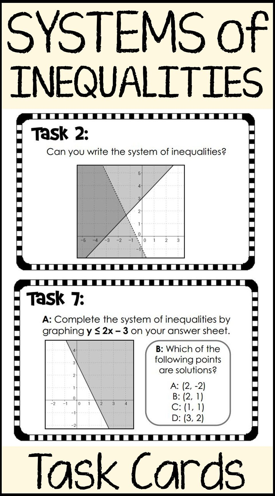 Systems Of Inequalities Task Cards Inequality Inequalities Activities Differentiation Math