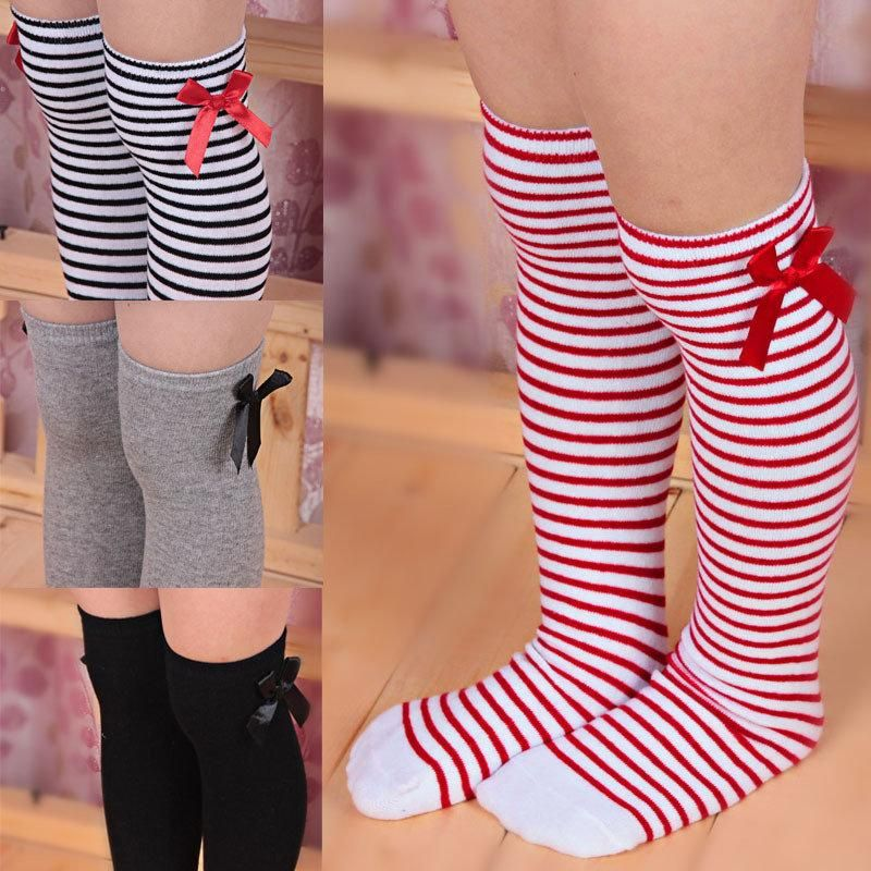 Toddler Cotton Kids Bow Baby Girls Long Leg Warmers Knee High Socks Tube Socks
